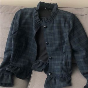 Green and blue plaid jacket